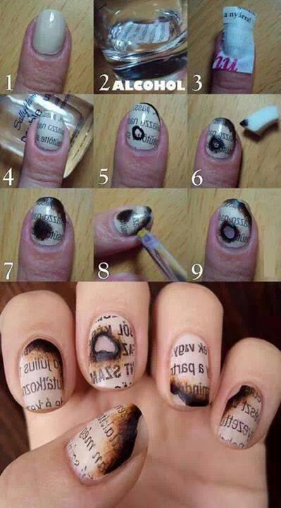 burned letter nail