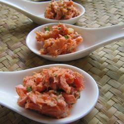 antipasto al cucchiaio di salmone allo zenzero