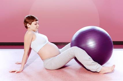 Pregnant woman doing exercise