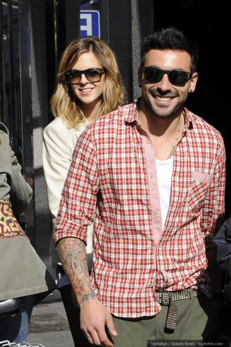 Ezequiel Lavezzi and his girlfriend Janina Screpante in Milan