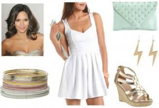 white-dress-esparille-wedges-clutch