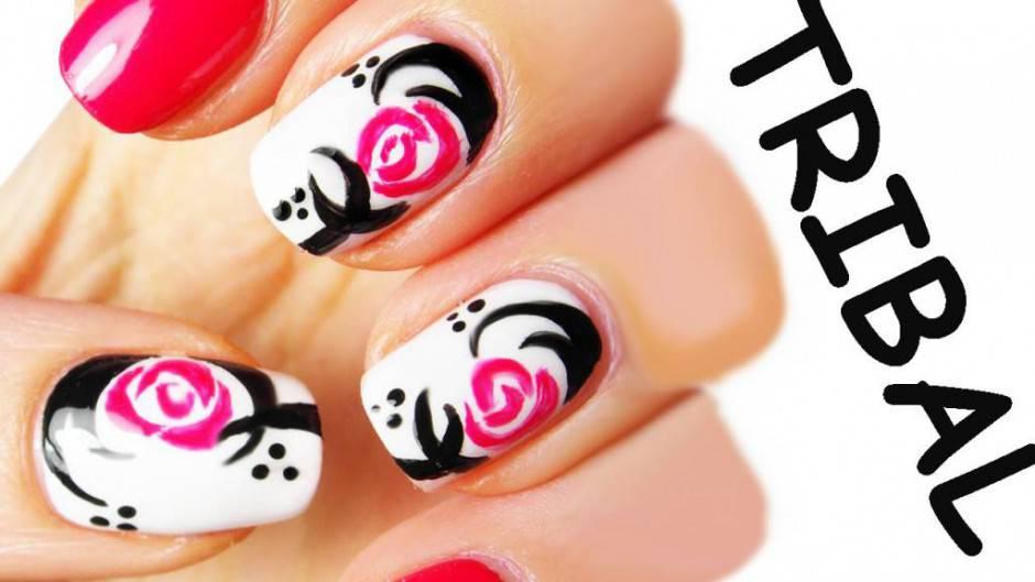 tribal rose nail art