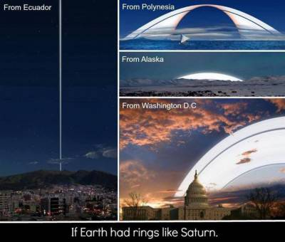 Gli anelli di Saturno, se fossero intorno alla Terra.