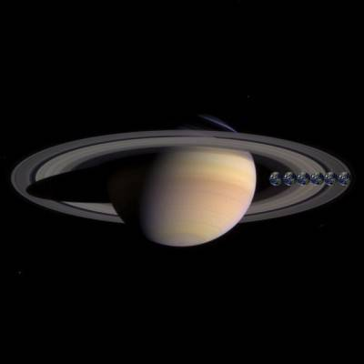 La grandezza di sei terre, paragonate a Saturno.