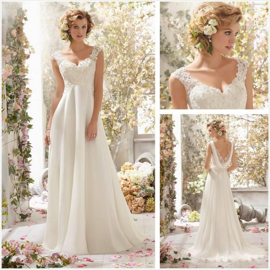 2014-Newest-Fashion-Lace-Appliques-White-V-Neck-Cap-Sleeve-Unique-Wedding-Dresses-Vintage-Wedding-Gown