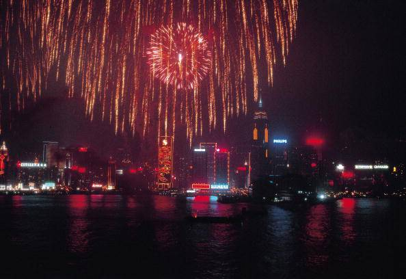 Fireworks in the bay of Honk-Kong