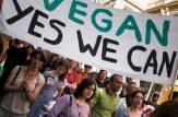 Vegetarian activists demonstrate during