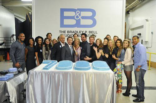 CBS Daytime celebrates the 7000th episode of THE BOLD AND THE BEAUTIFUL with a special cake cutting and CBS Television City Studio 31 stage dedication to eight-time Daytime Emmy Award® winner and executive producer/head writer Bradley P. Bell on Wednesday, Jan. 14. The 7,000th episode will be broadcast on the CBS Television Network on Friday, Jan. 23 (1:30-2:00 PM, ET; 12:30-1:00 PM, PT) Photo: Darren Michaels/CBS ©2015 CBS Broadcasting, Inc. All Rights Reserved