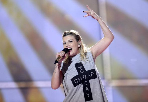 "Emma Marrone representing Italy perform the song ""La Mia Citta"" during the dress rehearsal for the Eurovision Song Contest 2014 Grand Final in Copenhagen, Denmark, on May 9, 2014. AFP PHOTO/JONATHAN NACKSTRAND        (Photo credit should read JONATHAN NACKSTRAND/AFP/Getty Images)"