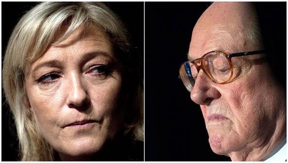 A combination made on April 10, 2015 shows files fictures of French far-right National Front (FN) party's president Marine Le Pen (L) taken on January 13, 2012 in Paris and Front National's honorary president Jean-Marie Le Pen (R) taken on May 15, 2014 in Vineuil. AFP PHOTO / JOEL SAGET / GUILLAUME SOUVANT        (Photo credit should read JOEL SAGET,GUILLAUME SOUVANT/AFP/Getty Images)