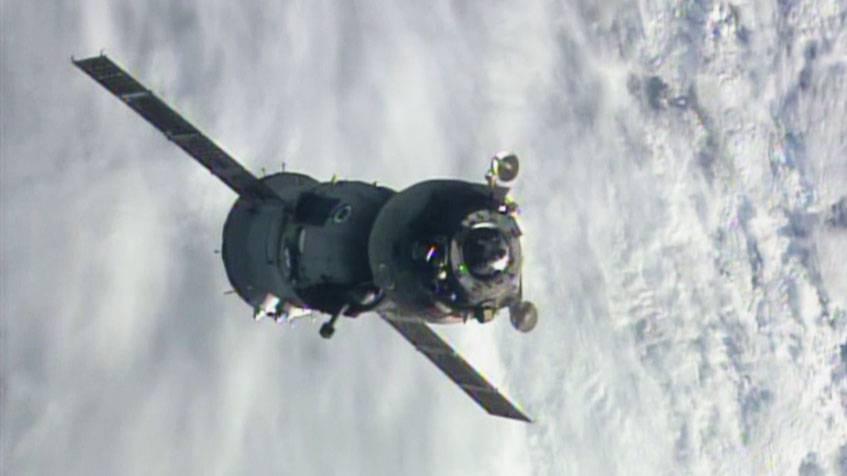 La Soyuz con Samantha Cristoforetti a bordo (Nasa Tv)