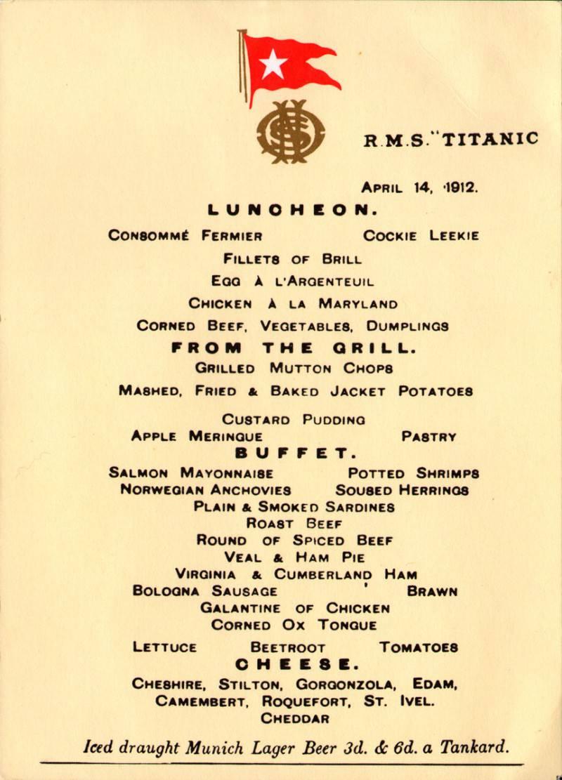 menù titanic