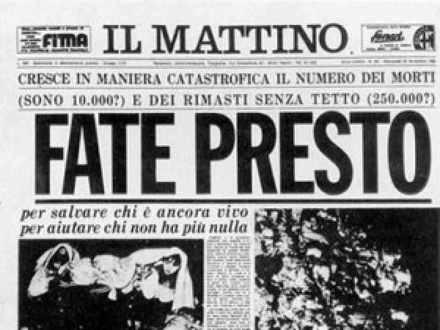 La prima pagina del Mattino sul terremoto in Irpinia del 1980