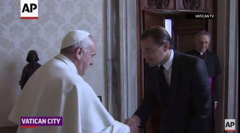 Papa Francesco e Leonardo Di Caprio (Screenshot)