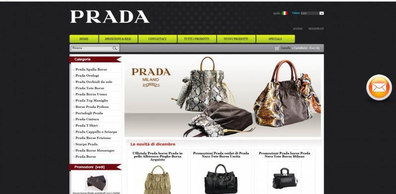 Prada, sito web fasullo