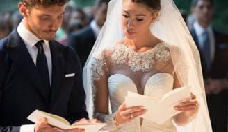Belen e Stefano nel giorno del loro matrimonio