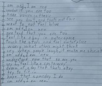 """""""Io sono"""", la poesia di Benjamin - Foto: Facebook"""