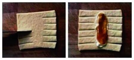 Tagliate un rettangolo di pasta sfoglia e create due frange laterali.