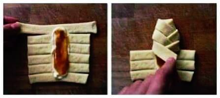 Ponete il burro e la marmellata al centro della sfoglia, e chiudete le frange in modo incrociato l'una sull'altra.