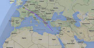 La rotta dell'aereo EgyptAir su Flightradar24