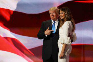 Donald Trump e la moglie Melania alla convention di Cleveland (Joe Raedle/Getty Images)