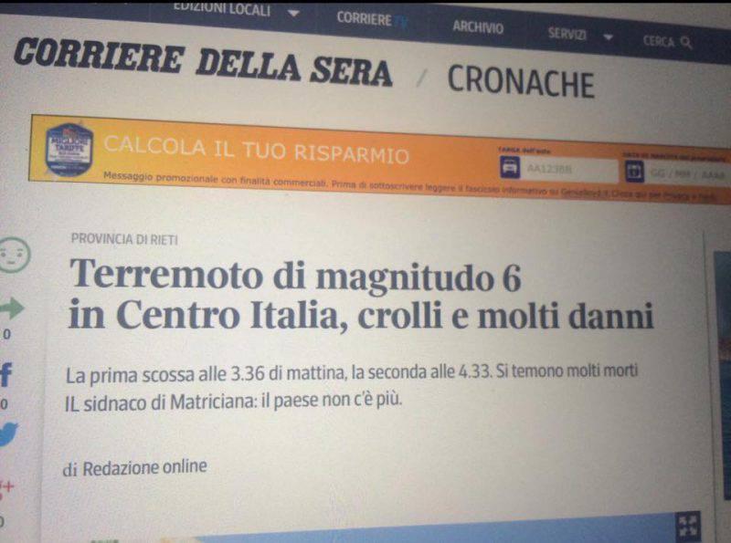 Lo screenshot del Corriere della Sera sul terremoto nel centro Italia