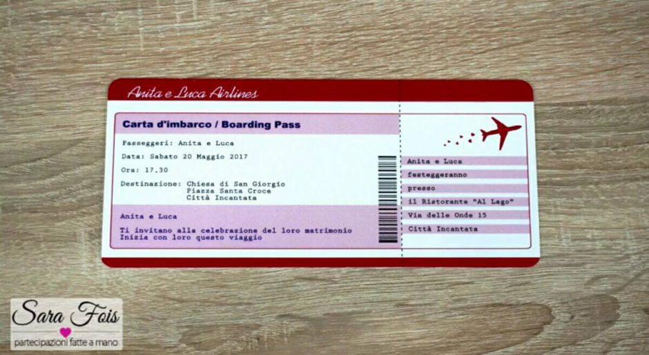 Partecipazioni di nozze stile biglietto aereo fai da te