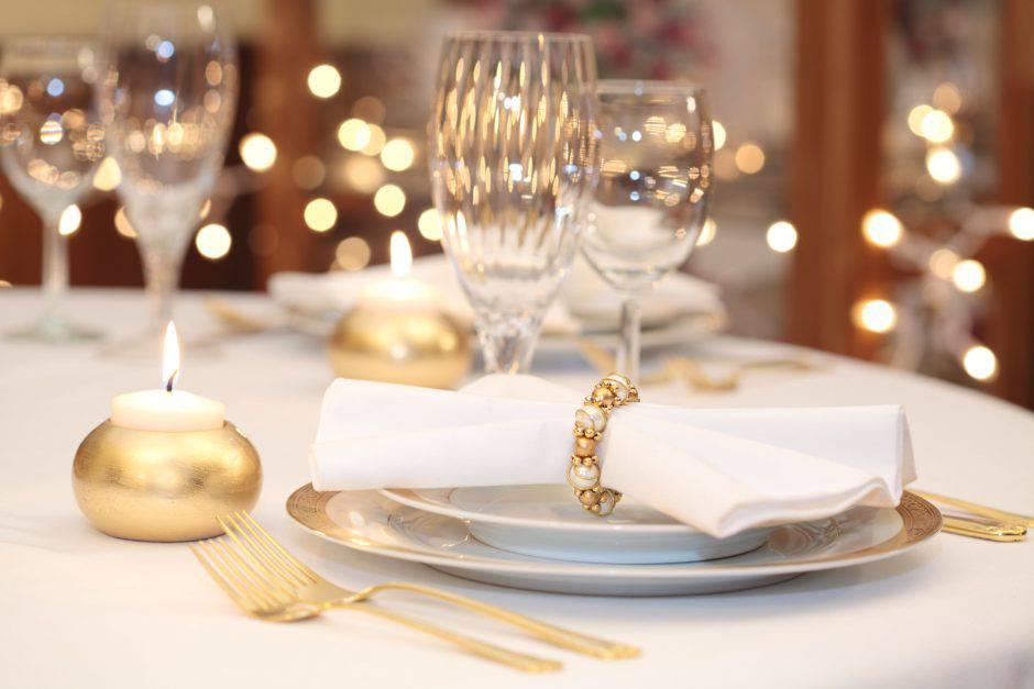 Elegant Place Setting with gold, white and crystal