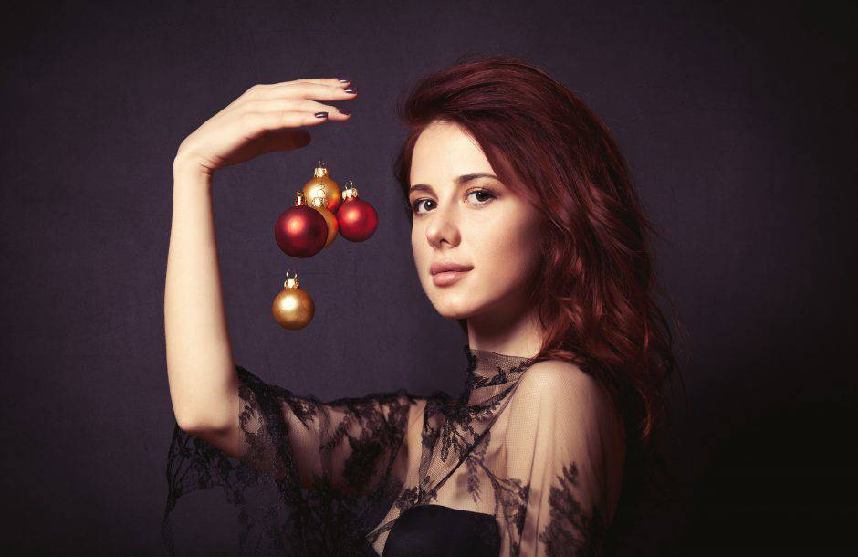 Woman with baubles