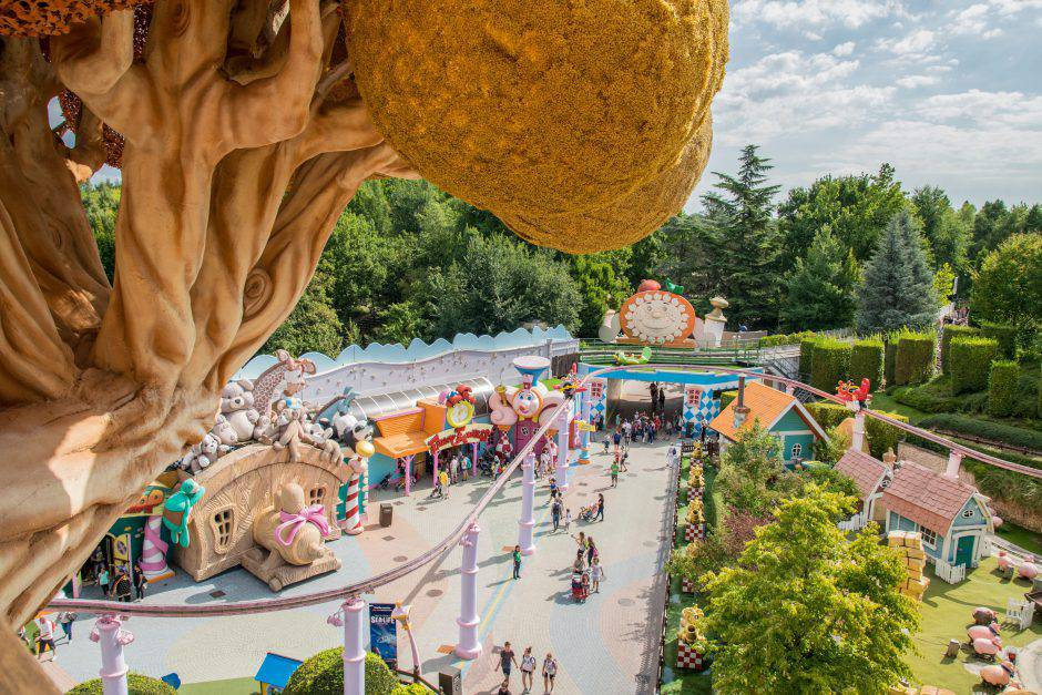 Castelnuovo Del Garda, Italy - September 8, 2015: Gardaland Theme Park in Castelnuovo Del Garda. Three million people visit the park on a yearly basis.