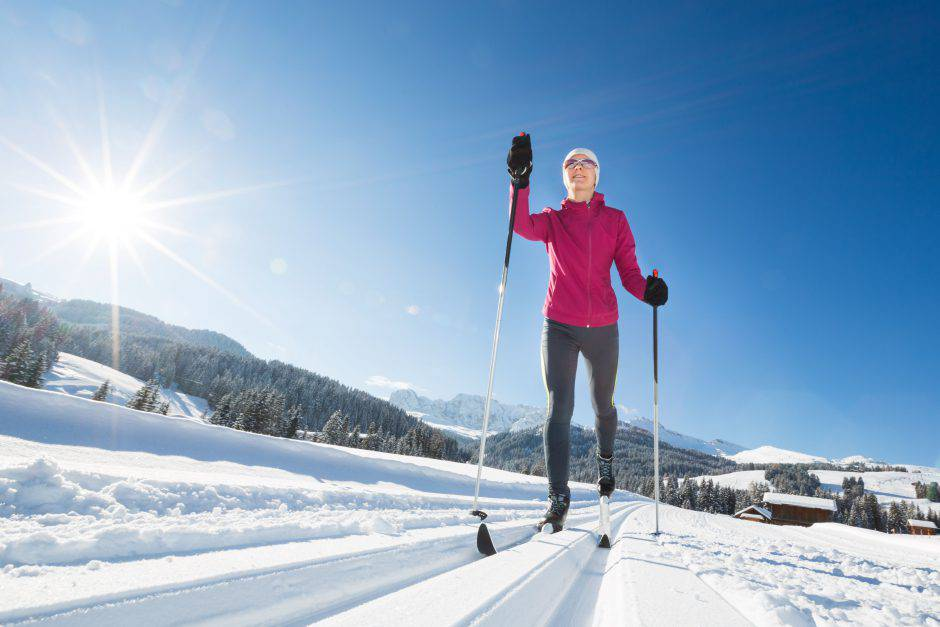 Young woman while cross-country skiing.