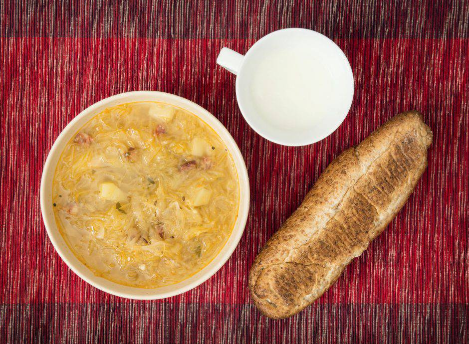Cabbage soup with buttermilk and pastry. Food and drink.