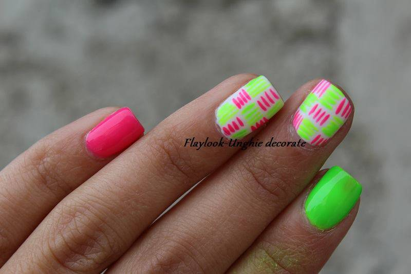 Super Tutorial nail art: unghie corte decorate con colori fluo ed estive. FG34