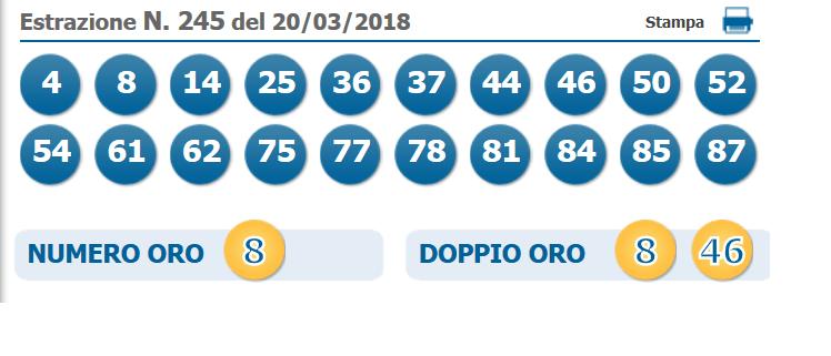 estrazione 10elotto 20 marzo 2018