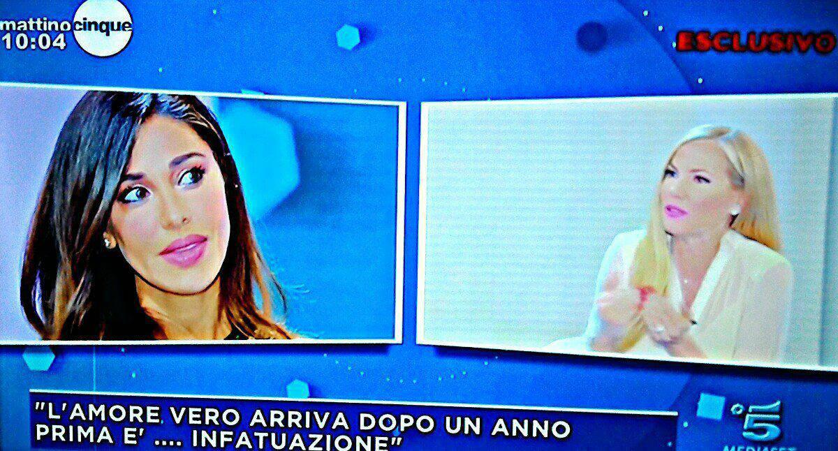 Belen Rodriguez sbotta in diretta a 'Mattino 5' , rivelazioni sull'amore con Iannone