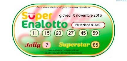 estrazione superenalotto 8 novembre 2018