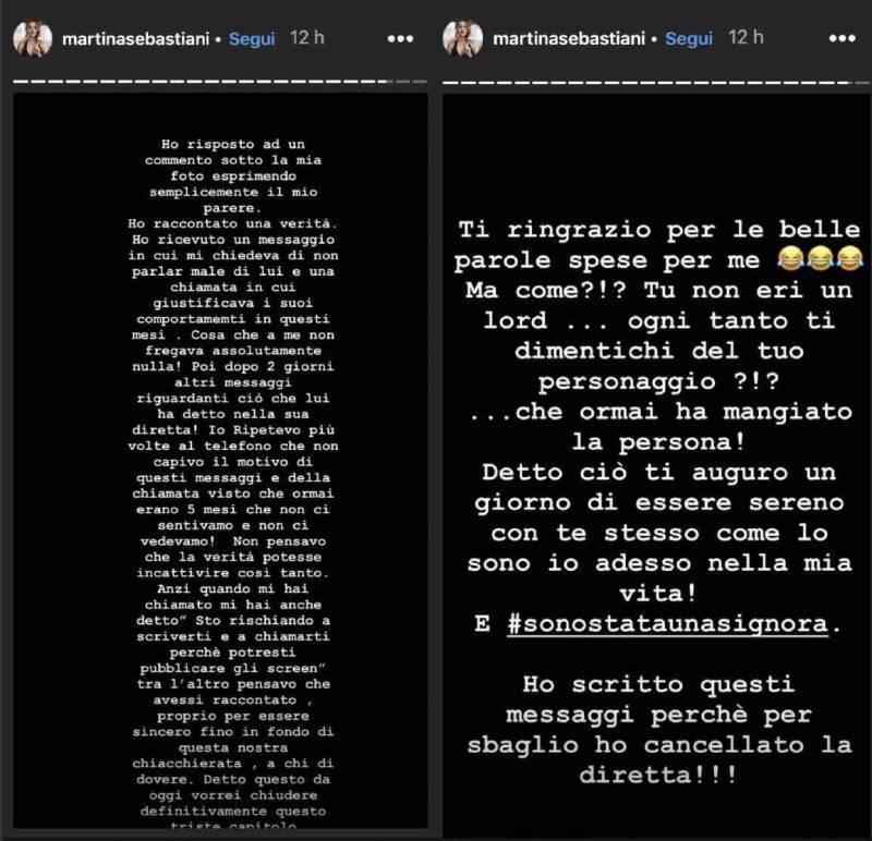 Martina Sebastiani instagram story