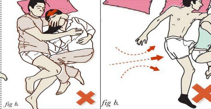 8 posizioni del sonno rischiose per le coppie, da evitare