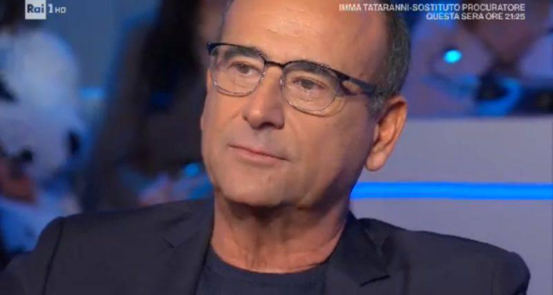 Carlo Conti piange a Domenica In