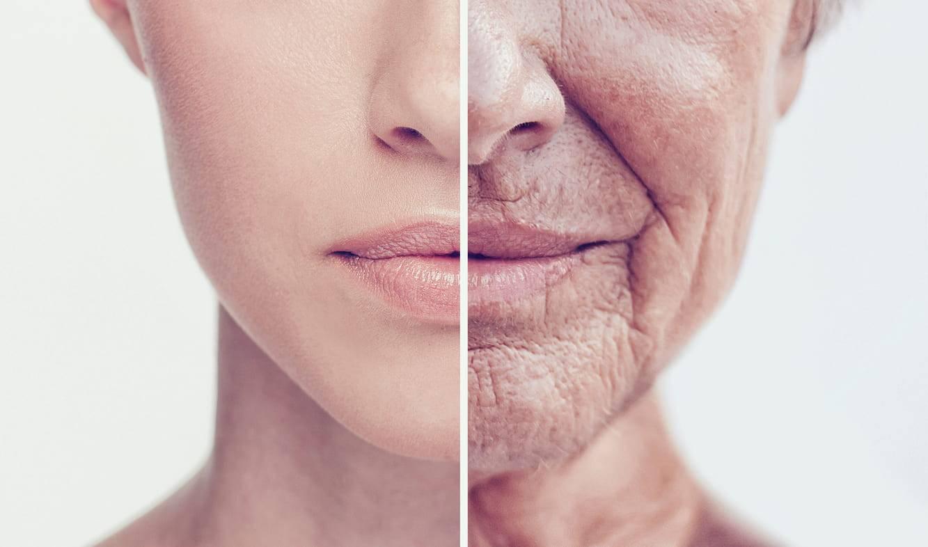 Donna con pelle giovane e vecchia