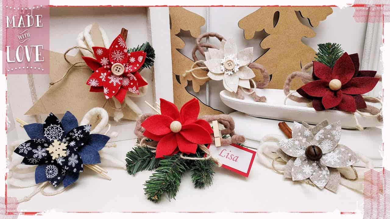 Diy: segnaposto natalizio in feltro senza cucire-VIDEO-