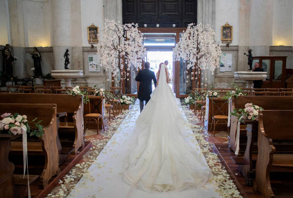 VENICE, ITALY - JUNE 01: Barbara Meier and Klemens Hallmann walk out of the Chiesa del Santissimo Redentore (Il Redentore) after their wedding ceremony on June 01, 2019 in Venice, Italy. (Photo by Chris Singer/Bluesparrow via Getty Images)