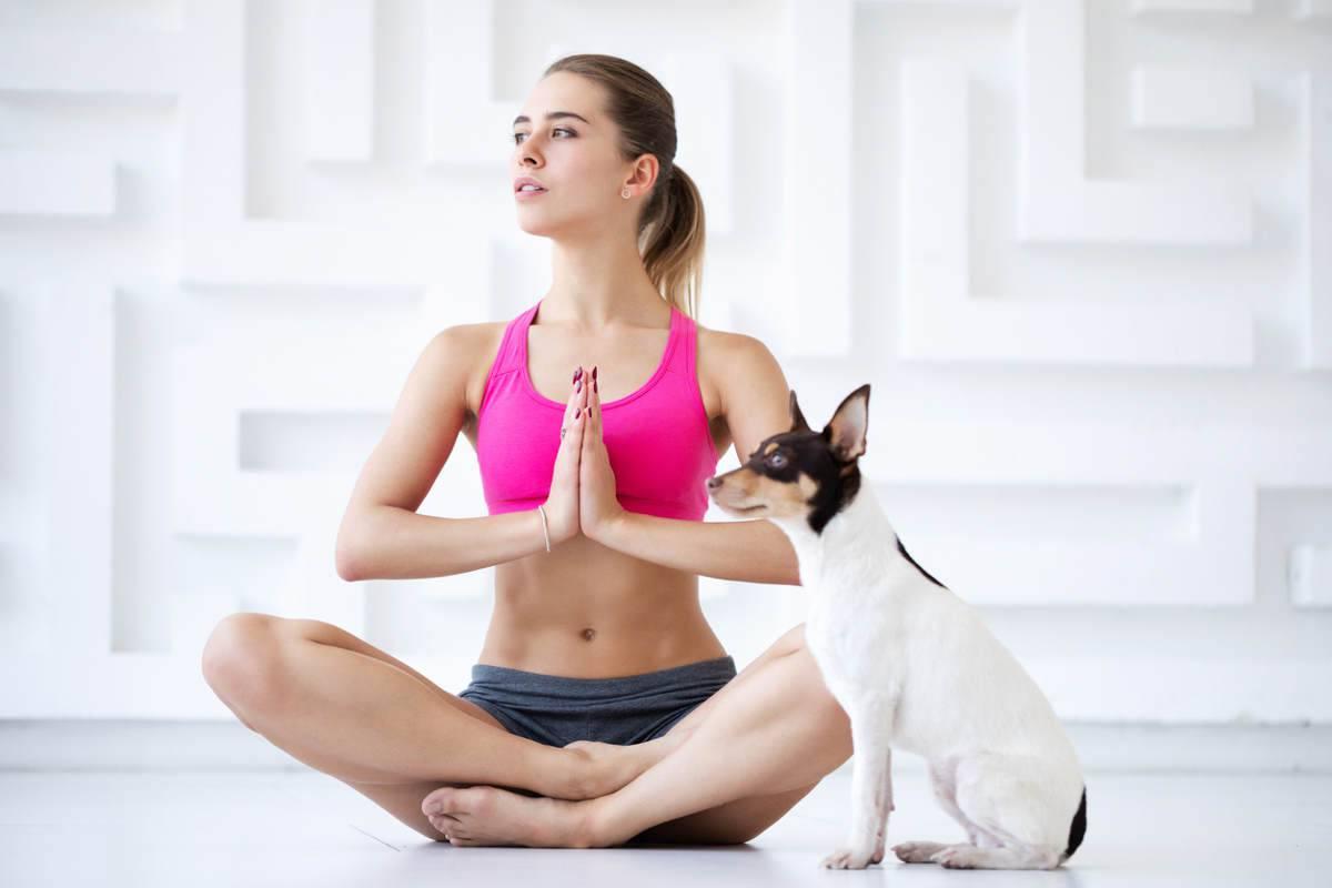 yoga con cane