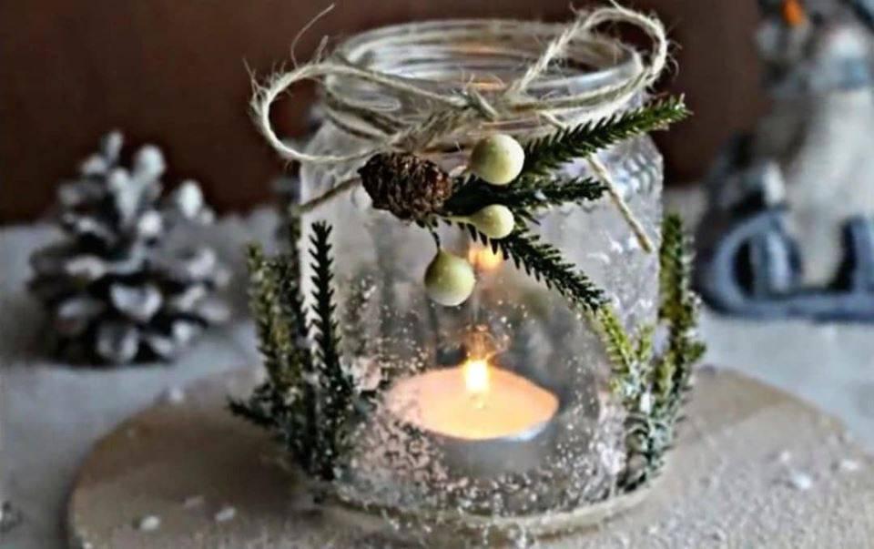 Diy | porta candele natalizio in vetro -VIDEO-