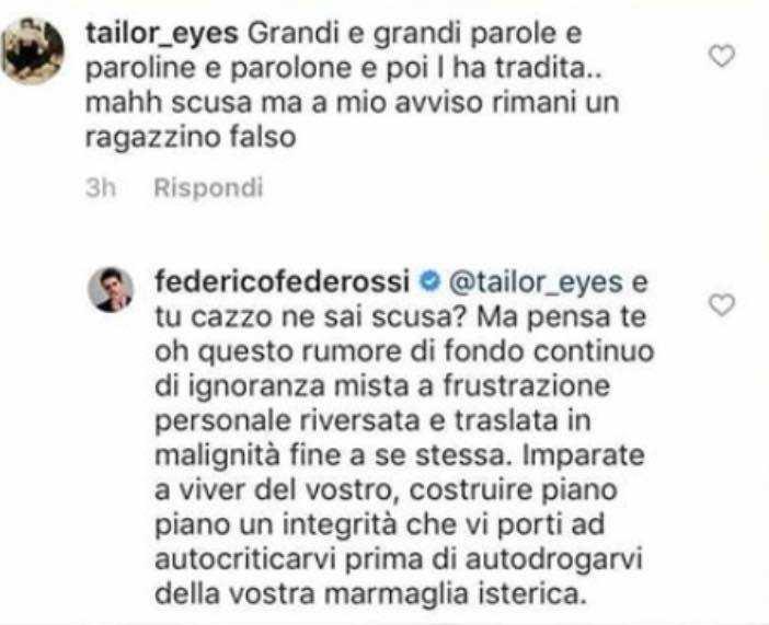 Federico Rossi sbotta con i fan