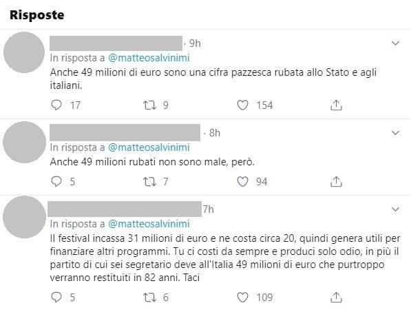 Matteo salvini cachet sanremo twitter