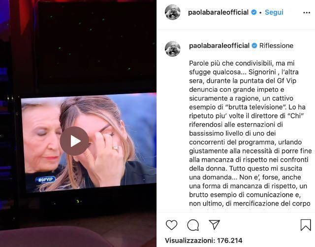 Paola Barale si scaglia contro Signorini