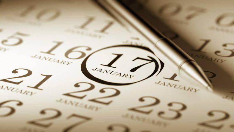 calendario 17 gennaio