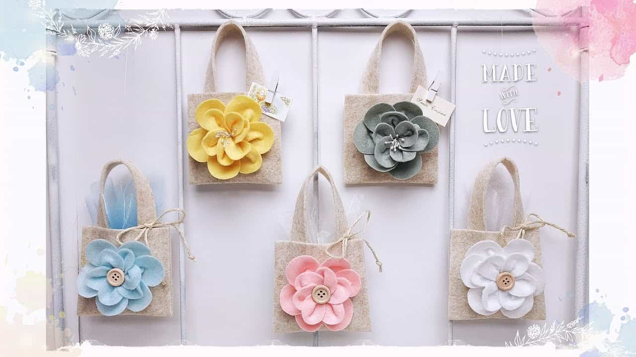 Fai da te | mini borsette porta confetti in feltro