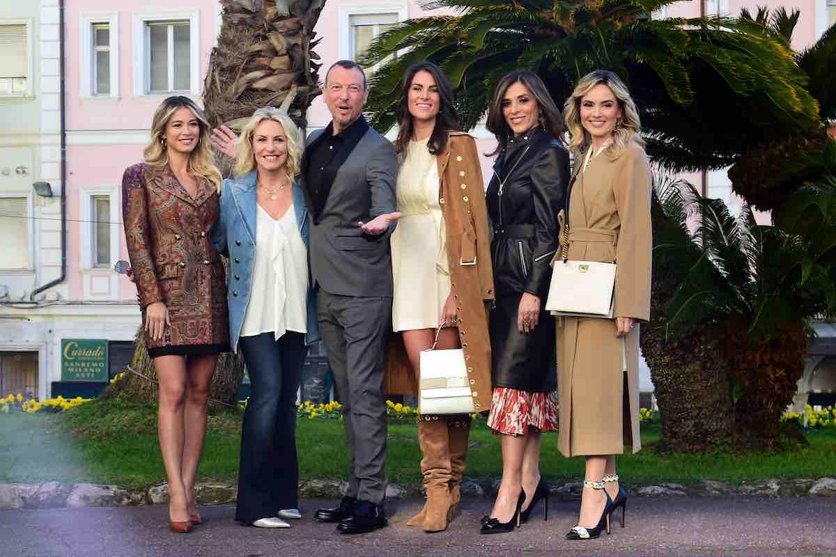 Amadeus e le co-conduttrici di Sanremo 2020